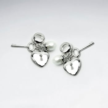 Sterling Silver Key and Heart Lock Charm