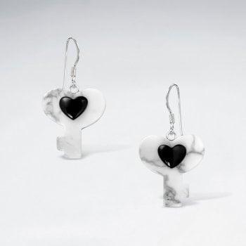 Sterling Silver Key Heart Earrings