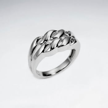 Sterling Silver Knotted Lines Ring