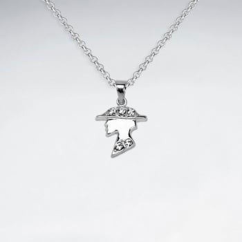 Sterling Silver Lady With Crystal Pendant