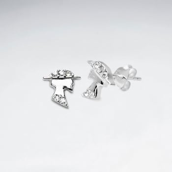 Sterling Silver Lady With Crystal Stud Earrings