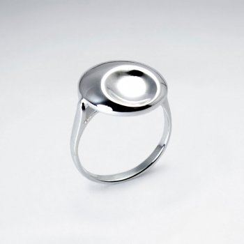 Sterling Silver Large Circle Dented Dimple Ring