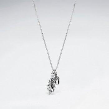 Sterling Silver Leaf & Acorn Pendant Necklace