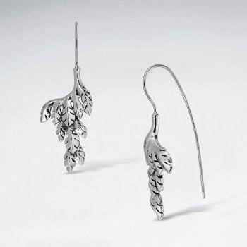 Sterling Silver Leaf Cluster Hook Earrings