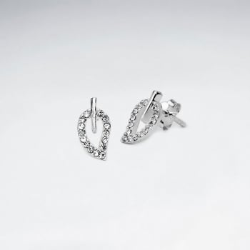 Sterling Silver Leaf Design With Crystal Stud Earrings