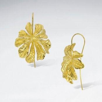 Sterling Silver Leaf Flower Earrings