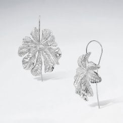 Sterling Silver Leaf Flower Earrings