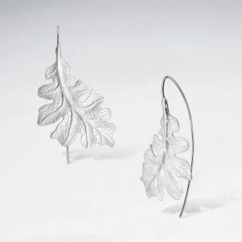 Sterling Silver Leaf Hook Earrings