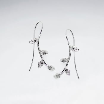 Sterling Silver Leafy Garden Vine Earrings