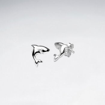 Sterling Silver Leaping Dolphins Stud Earrings
