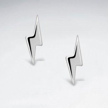 Sterling Silver Lightning Bolt Stud Earring