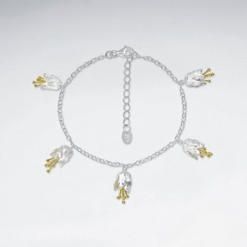 Sterling Silver Lily Flower Charm Bracelet