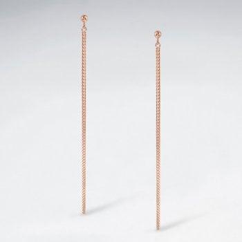 Sterling Silver Linear Chain Line Stud Earrings