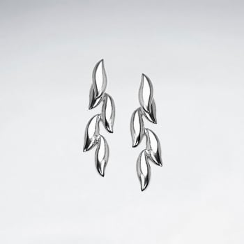 Sterling Silver Linear Leaf Stud Earrings