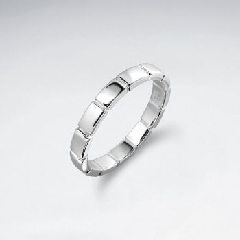 Sterling Silver Lined Geometric Ring