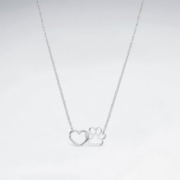 Sterling Silver Linked Heart and Paw Necklace
