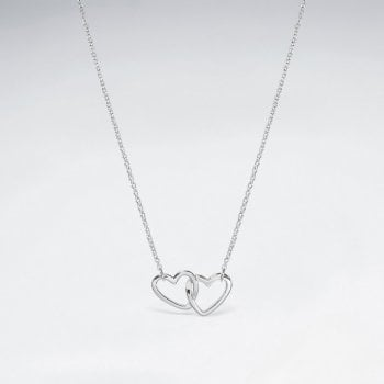 Sterling Silver Linked Hearts Necklace