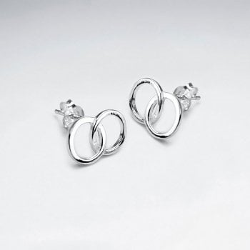Sterling Silver Linked Ring Stud Earrings