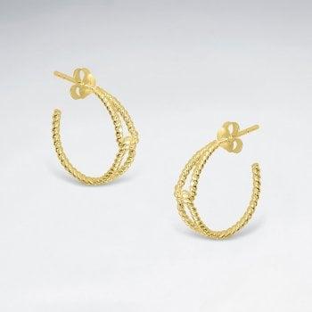 Sterling Silver Linked Rope Half Hoop Earrings