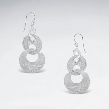 Sterling Silver Linked Triple Hoop Dangle Earrings