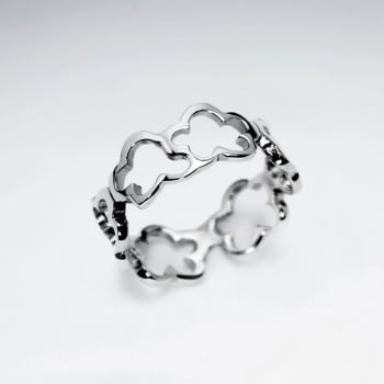 Sterling Silver Linking Open Clovers Ring
