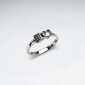 Sterling Silver Lock and Heart Ring