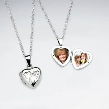 "Sterling Silver Locket Heart ""Mom"" Pendant"