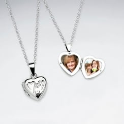 "Sterling Silver Locket Heart ""Mom"" Pendant"