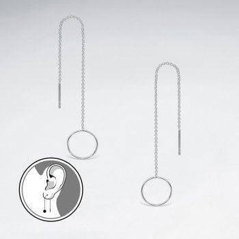 Sterling Silver Long Dangle Chain Openwork Circle Hoop Earrings