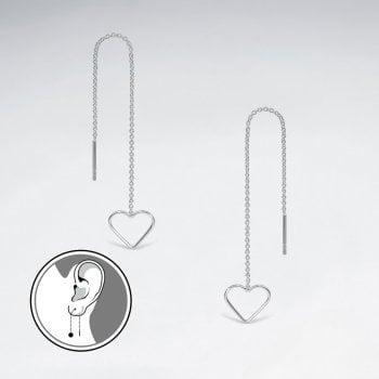 Sterling Silver Long Dangle Chain Openwork Heart Earrings
