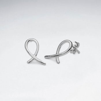 Sterling Silver Looped Ribbon Stud Earrings