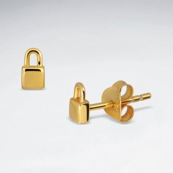 Sterling Silver Love Lock Stud Earrings