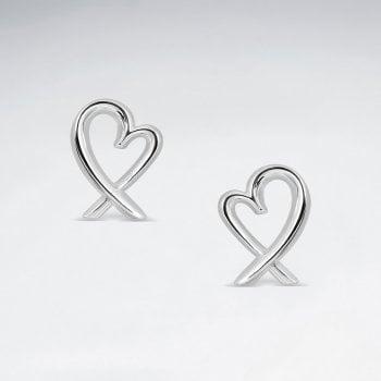 Sterling Silver Love Story Ribbon Heart Stud Earrings