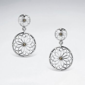 Sterling Silver Marcasite Filigree Earrings