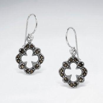 Sterling Silver Marcasite Hook Earrings