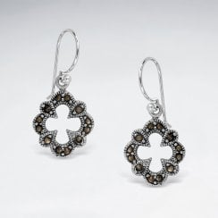 Sterling Silver Marcasite Hook Earrings