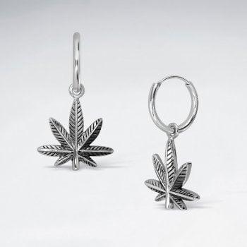 Sterling Silver Marijuana Dangle Hoop Earrings