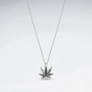 Sterling Silver Marijuana Leaf Necklace