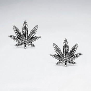 Sterling Silver Marijuana Leaf Stud Earrings
