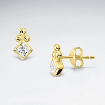 Sterling Silver Marquis CZ Stud Earrings