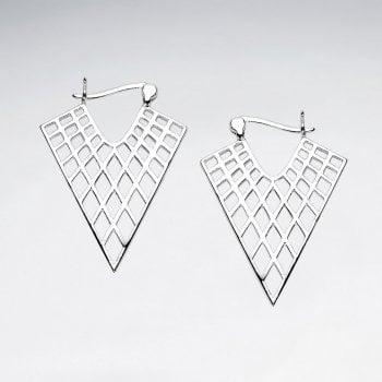 Sterling Silver Marquis Openwork Triangle Hoop Earrings