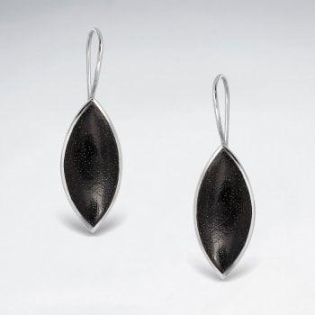 Sterling Silver Marquis Wood Drop Earrings