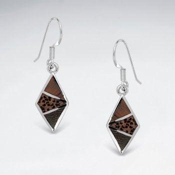 Sterling Silver Marquis Wood Earrings