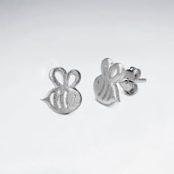 Sterling Silver Matte    Bumblebee Earrings