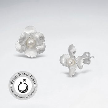 Sterling Silver Matte Flower Earrings with Pearl Stud Center