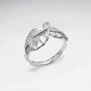 Sterling Silver Matte & High Polished Leaf Ring