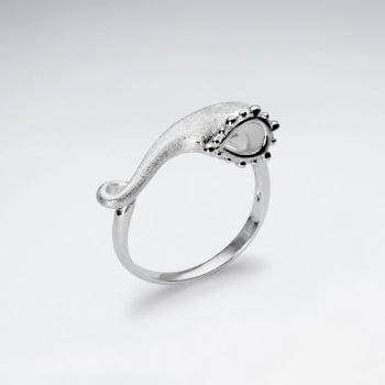 Sterling Silver Matte & High Polished Tube Flower Ring