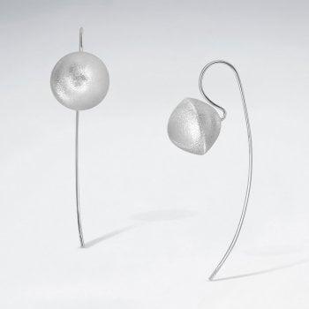 Sterling Silver Matte Pinched Ball Drop Hook Earrings
