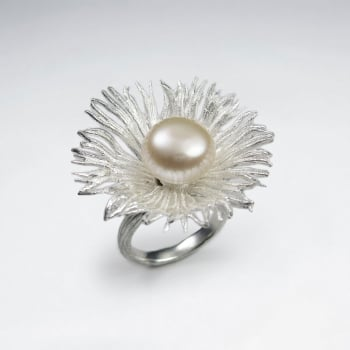 Sterling Silver Matte Polished & Pearl Flower Statement Ring