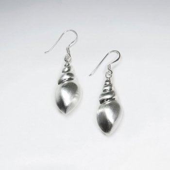 Sterling Silver Matte Spiral Shell Shaped Dangle Earrings